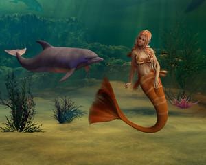 Fotobehang Zeemeermin Mermaid and Dolphin