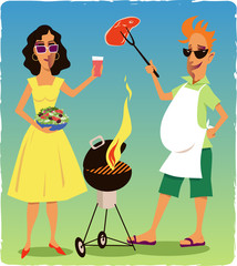 Couple at a barbecue party