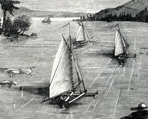 Ice boats in Canada (ca. 1890)