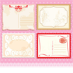 Set of Postcards in vintage design on polka dots pink background
