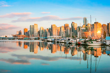 Vancouver skyline with harbor at sunset, BC, Canada Wall mural