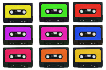 Collection of retro cassete tapes with multicolored stickers iso