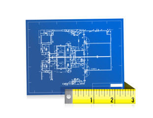 blue print and measure tape illustration design