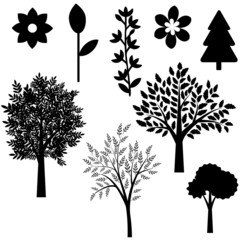 Trees and flowers set