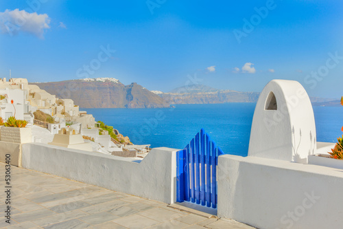 Fototapete Greece Santorini island in Cyclades,Panoramic view of caldera se