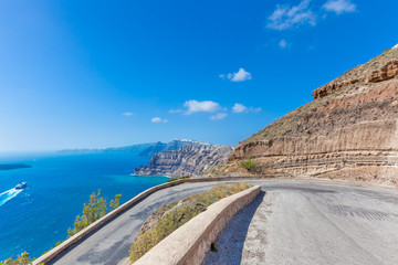 Greece Santorini island in Cyclades,Panoramic view of road above