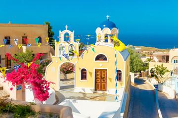 Fototapete - Greece Santorini island in Cyclades,wide view of white orthodox