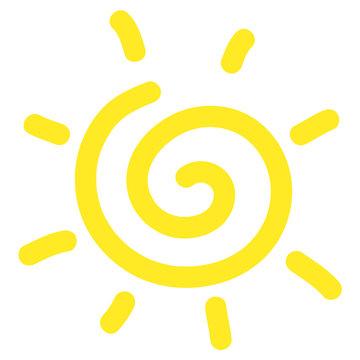 Hand drawn spiral sun cartoon