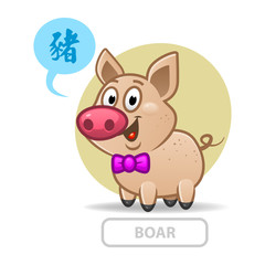 Chinese zodiac sign pig. vector