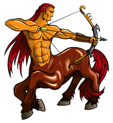 Centaur, fantasy creature, with bent bow, vector