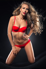 Seductive woman with magnificent hair in red lingerie