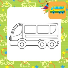 Bus toy. Coloring book. Vector illustration