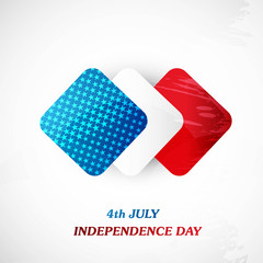 4th July square of American independence day white background