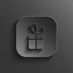Gift icon - vector black app button
