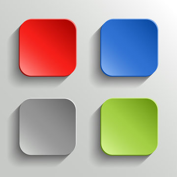 Set of Colorful Buttons with Shadow on White Background