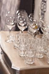 Empty glasses on restaurant table
