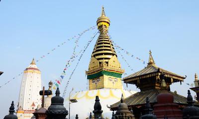 Swayambhunath Stupa religious complex or Monkey temple,Kathmandu