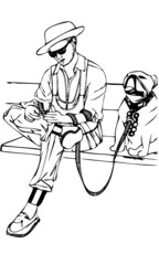 Vector Illustration of Man with Dog Sitting on Bench on Phone
