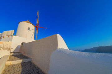 Fototapete - Greece Santorini island in Cyclades,  beautiful  wide view of wi