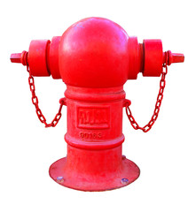 Red Fire hydrant isolate white background with clipping part