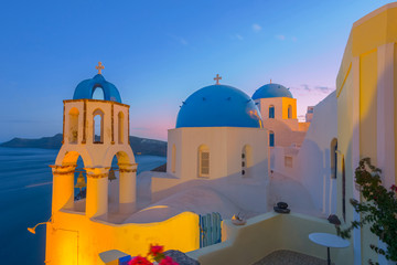 Fototapete - Greece Santorini island in Cyclades,  wide view of white washed