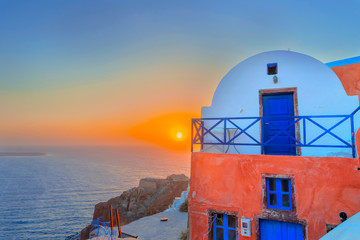 Wall Mural - Greece Santorini island in Cyclades, the most famous sunset in t