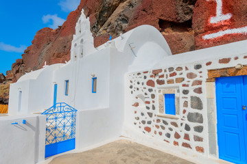 Wall Mural - Greece Santorini island in Cyclades, traditional view of white w