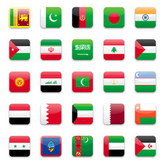 Asia middle east and south Asia flags round icon set