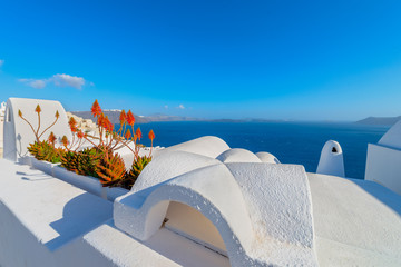 Wall Mural - Greece Santorini island in Cyclades, traditional white washed vi