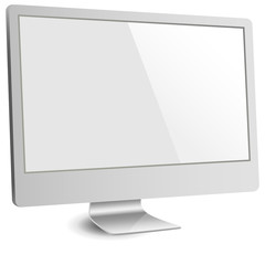 Silver Computer Monitor with Blank Screen