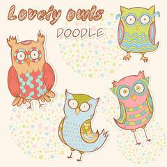 Cute cartoon owl stylish sticker collection