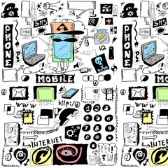 concept doodle mobile phones pattern