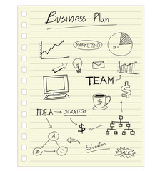 drawing business plan concept on paper note.