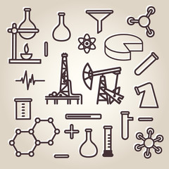 Black line science icons set, vector Eps10 illustration.