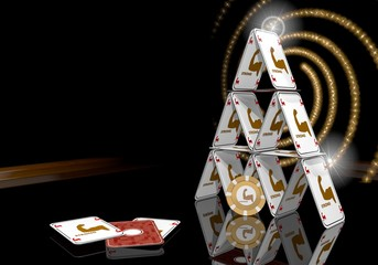 3d graphic of a glaring strong symbol  on the casino table