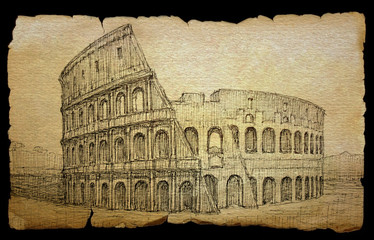 Colosseum painted by ink on old paper