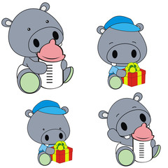hippo baby diaper cartoon set