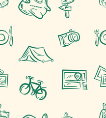 doodle travel set .Seamless pattern