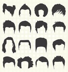 Vector Set: Men's Hairstyle Silhouettes