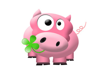 Illustration of cute pink pig with a cloverleaf in his mouths