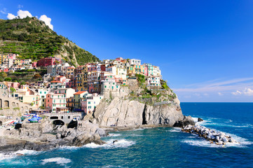 Printed kitchen splashbacks City on the water Manarola town of Cinque Terre National Park, Italy