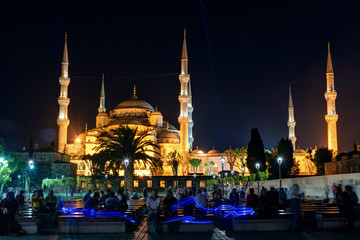 View of the Blue Mosque at night in Istanbul, Turkey