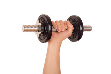 Dumbbell and hand