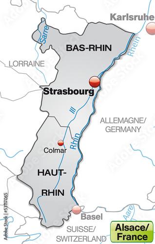 Elsass Karte Frankreich.Karte Der Region Elsass In Frankreich Mit Departements