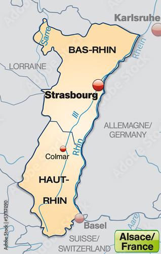 Frankreich Departements Karte.Karte Der Region Elsass In Frankreich Mit Departements Stockfotos