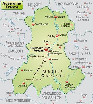Karte der Region Auvergne in Frankreich mit Umgebung
