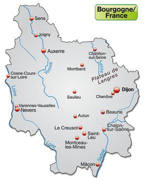 Freigestellte Karte der Region Bourgogne in Frankreich