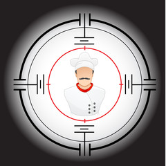 vector illustration of a chef in a target