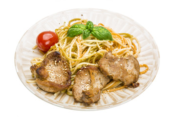 Pork with spaghetti