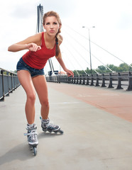 Young woman on roller skates
